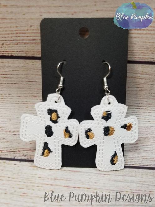 Leopard Crosses Earrings