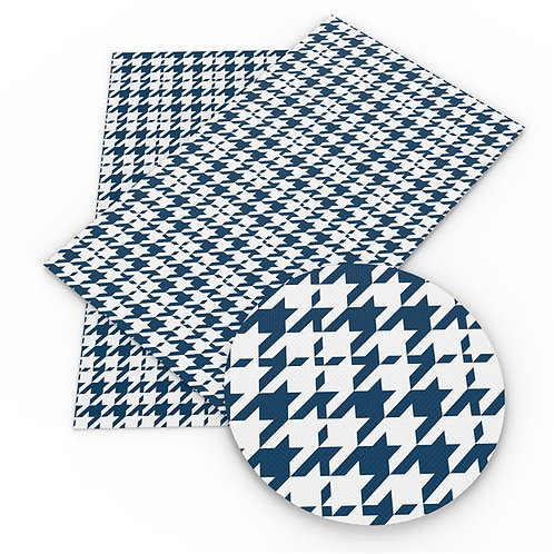 Blue Houndstooth Printed Embroidery Vinyl