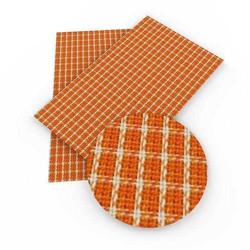 Dark Orange Plaid Faux Fabric Embroidery Vinyl
