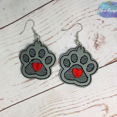 Paw Print with Heart Earrings