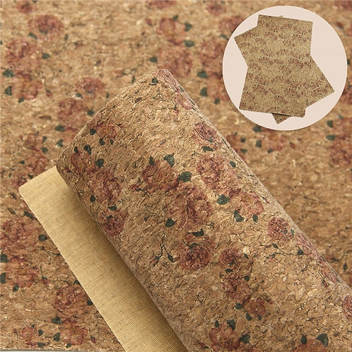 Roses Printed Thin Cork Embroidery Vinyl