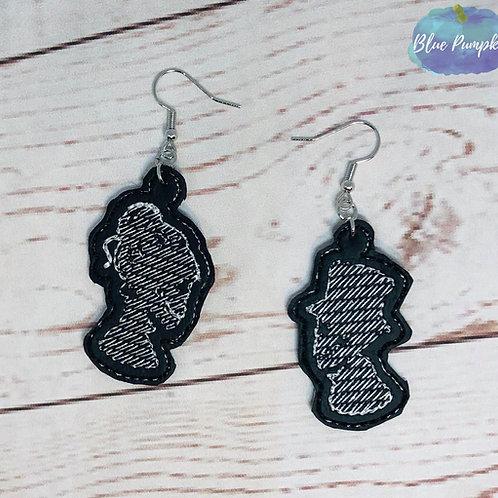 Mr and Mrs Skulls Profile Earrings