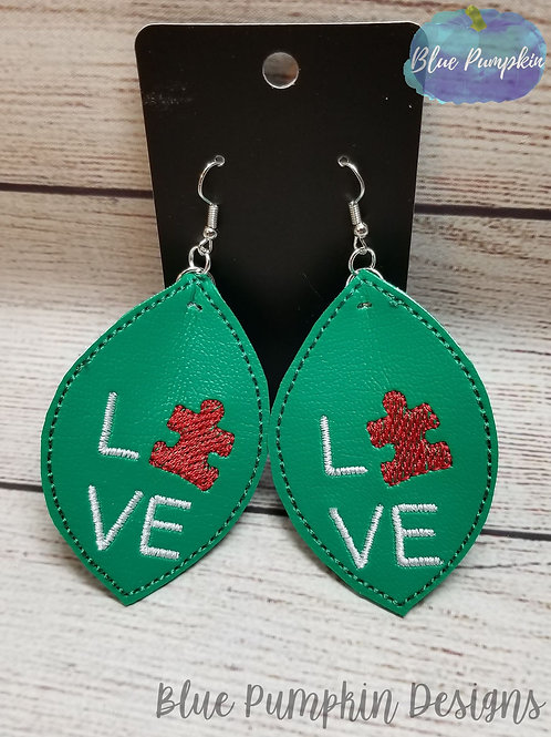 Puzzle Piece Oval Earrings