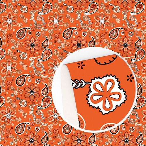 Orange Paisley Embroidery Vinyl