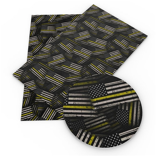Flag Thin  Yellow Line Embroidery Vinyl