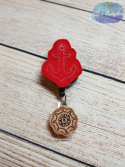 Anchor with Ship Wheel Badge Reel Feltie Design