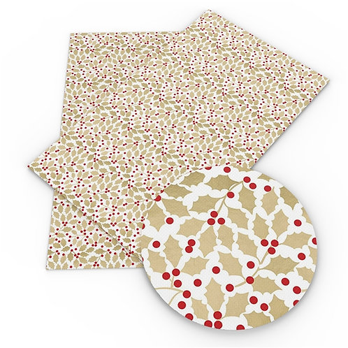 Beige Leaves with Holly Berries Embroidery Vinyl