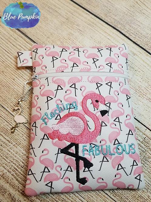 Flocking Flamingo ITH Zipper Bag Design