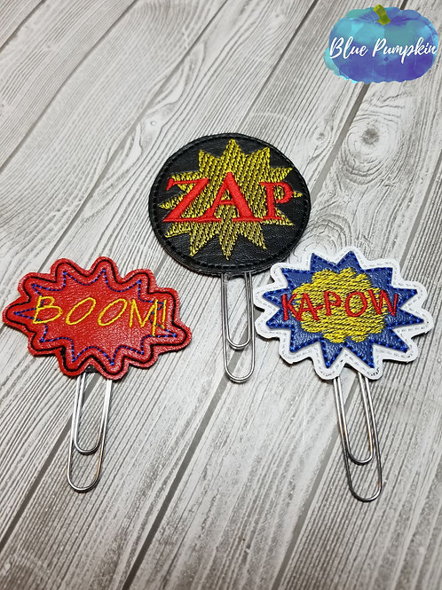 Superhero Exclamations Paper Clip Toppers