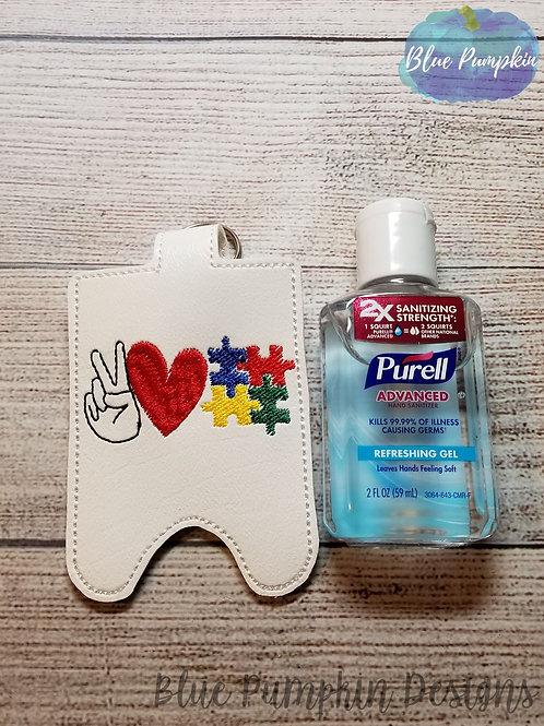 2oz Peace Love Autism Sani Bottle Holder
