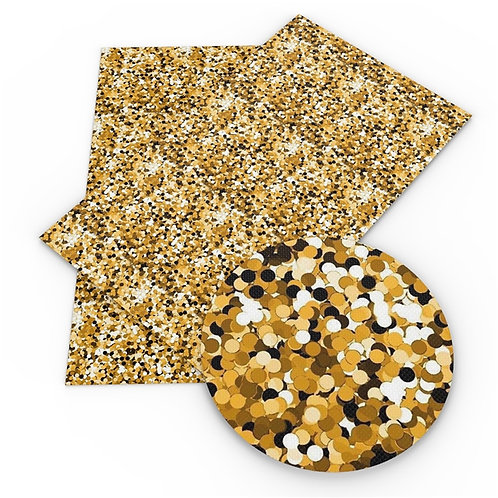 Yellow Gold Large Chunk FAUX Glitter Embroidery Vinyl