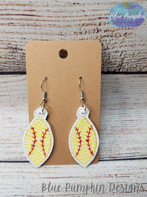 Softball Pointy Ovals Earrings