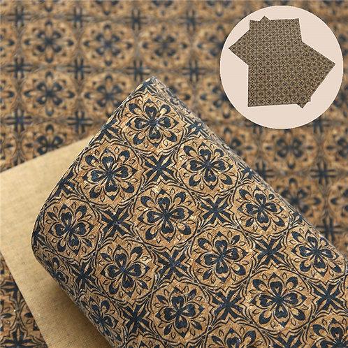 Layered Blue Flower Cork Embroidery Vinyl