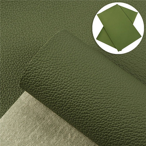 Litchi Army Green Embroidery Vinyl