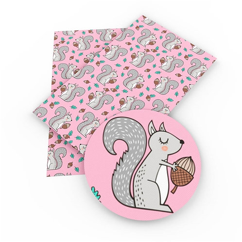 Squirrels on Pink Embroidery Vinyl