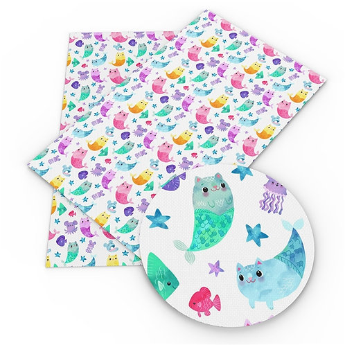 Multi water color MerCats Printed Embroidery Vinyl