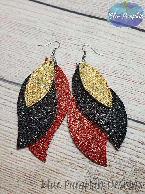 4x4 Triple Layered Feather Earrings