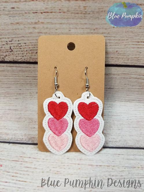 Trio Filled Hearts Earrings