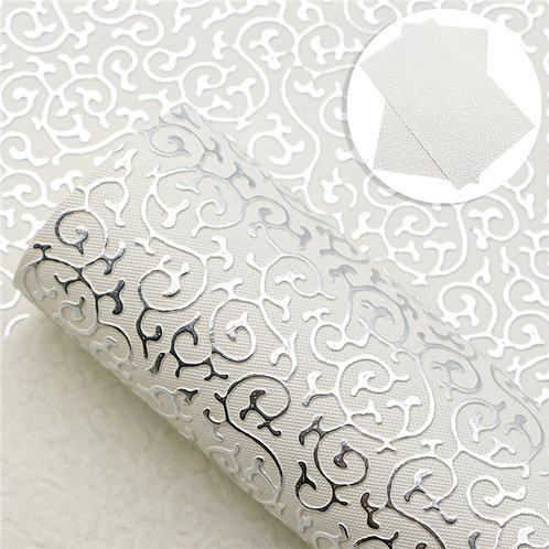 Silver with Intricate Embossed Embroidery Vinyl