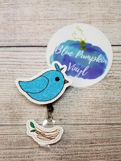 Bird w Nest Badge Reel Felties
