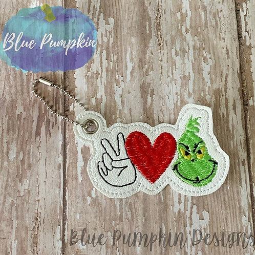 Peace Love Grouch Key Fob