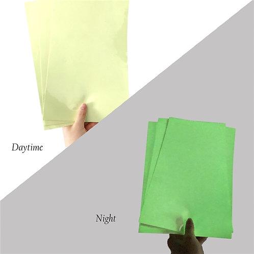 GLOW IN THE DARK Fluorescent Green Adhesive Sheet