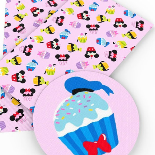 SMALL PRINT Pink Character Cupcakes Embroidery Vinyl