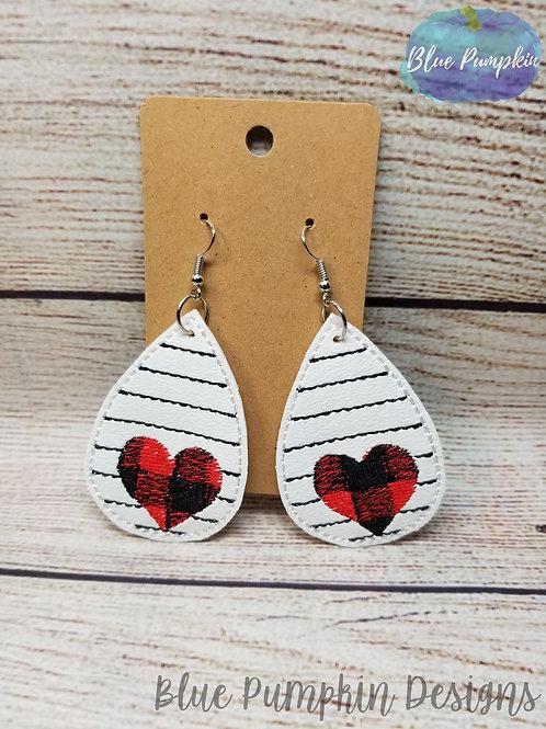 Buffalo Plaid Heart with Stripes Earrings