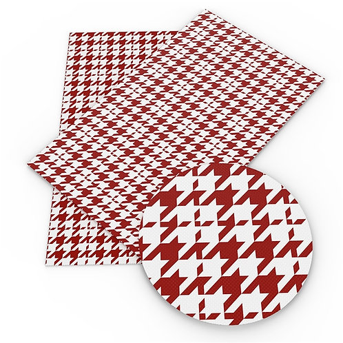 Red Houndstooth Printed Embroidery Vinyl