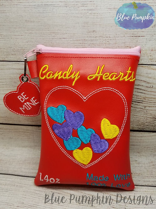 Candy Hearts ITH Zipper Bag Design