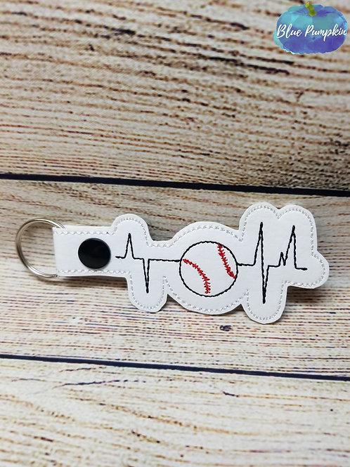 Baseball Heartbeat Key Fob
