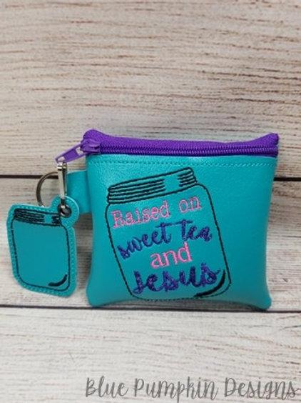 Raised on Sweet Tea and Jesus ITH Zipper Bag Design