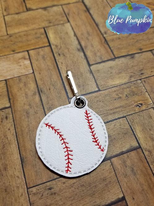 Baseball ITH Zipper Pull