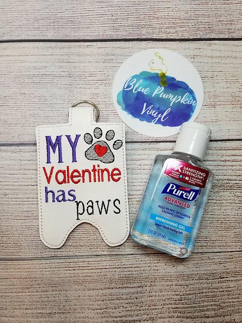 2oz Valentine's Paws Sani Bottle Holder