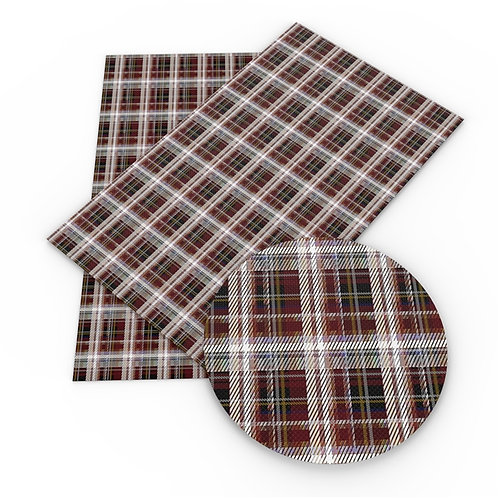 Dark red w White and Green Plaid Embroidery Vinyl