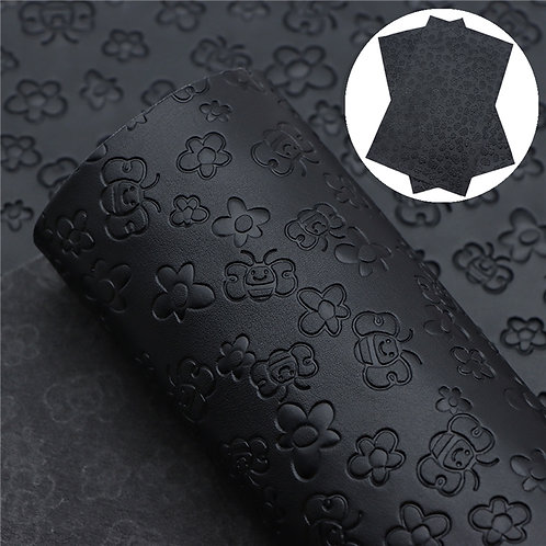 Black with bee embossed Embroidery Vinyl