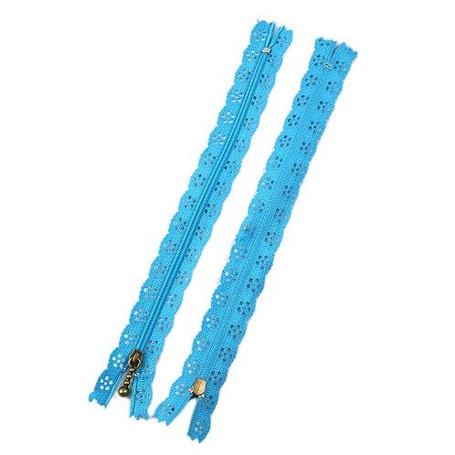 12in Light Blue Lace Zipper