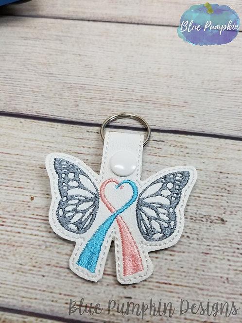 Butterfly Awareness Ribbon Key Fob