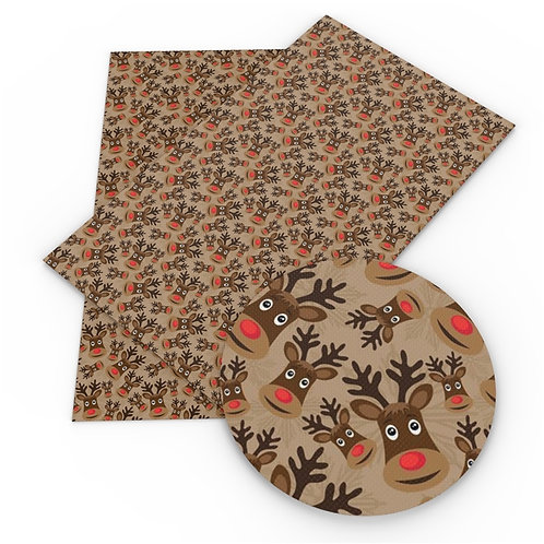 Brown with Rudolph Faces  Embroidery Vinyl