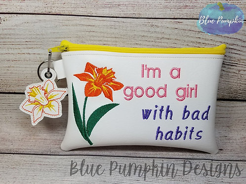 Daffodil Good Girl Bad Habit 5x7 ITH Bag Design