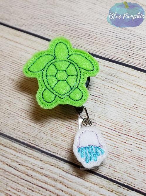 Sea Turtle Badge Reel Feltie Design