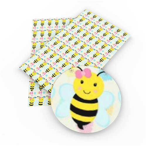 HORIZONTAL Bee w a Bow Printed Embroidery Vinyl