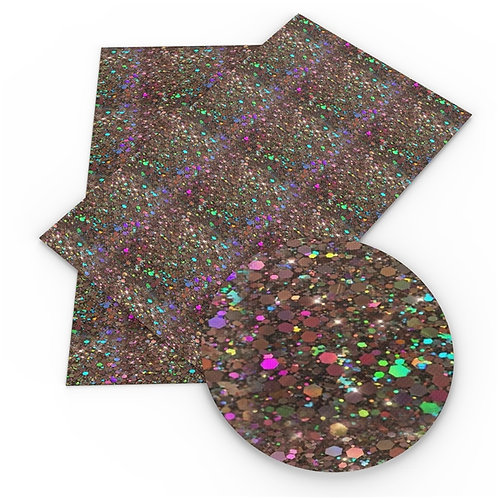 Faux Dark Brown Multi Dark Glitters Embroidery Vinyl