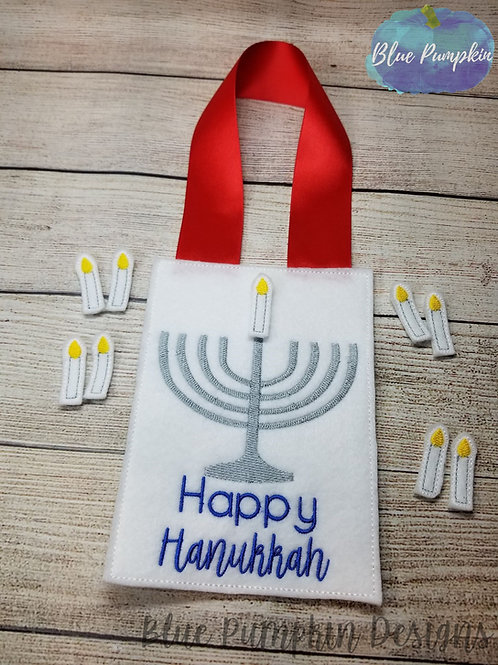 Happy Hanukkah Hanger with Candles