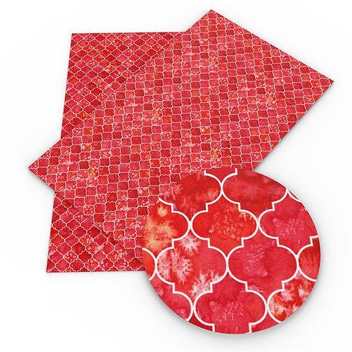 Variegated Red Tile Printed Embroidery Vinyl