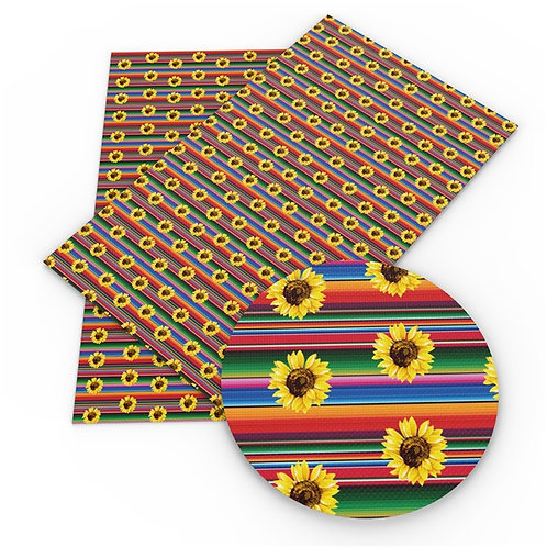 Serape and Sunflowers Flowers Print Embroidery Vinyl