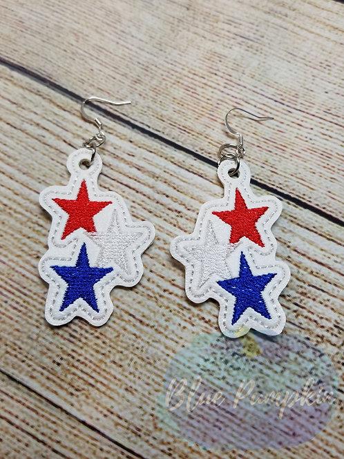 Red White Blue Star Earrings