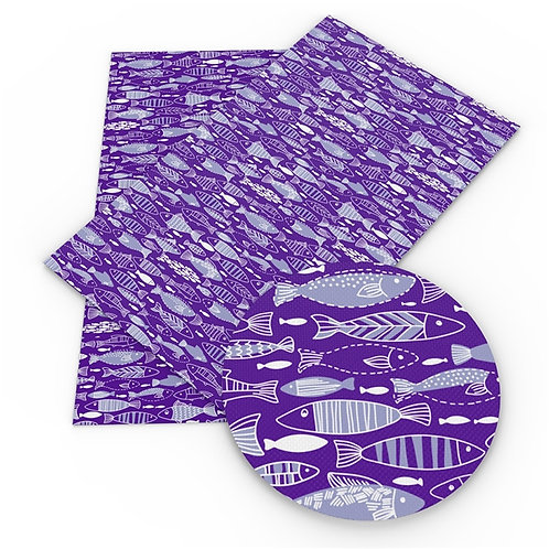 Purple with Fish Printed Embroidery Vinyl