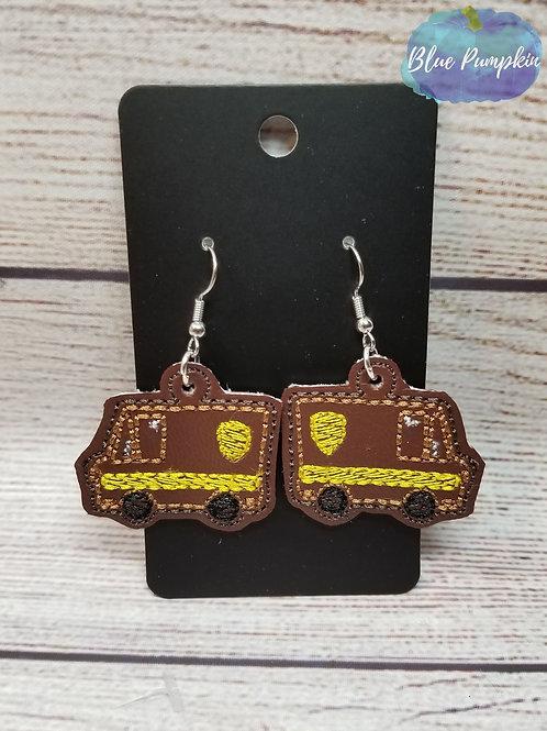Brown Truck Earrings