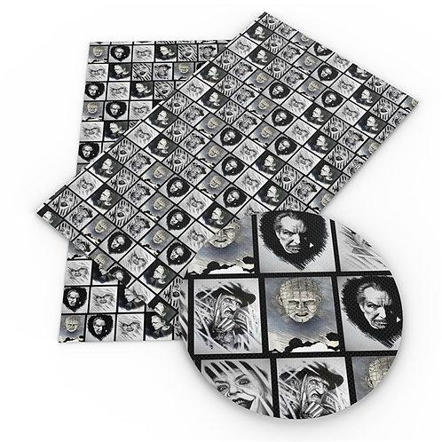 Black n white Horror Portraits Printed Embroidery Vinyl